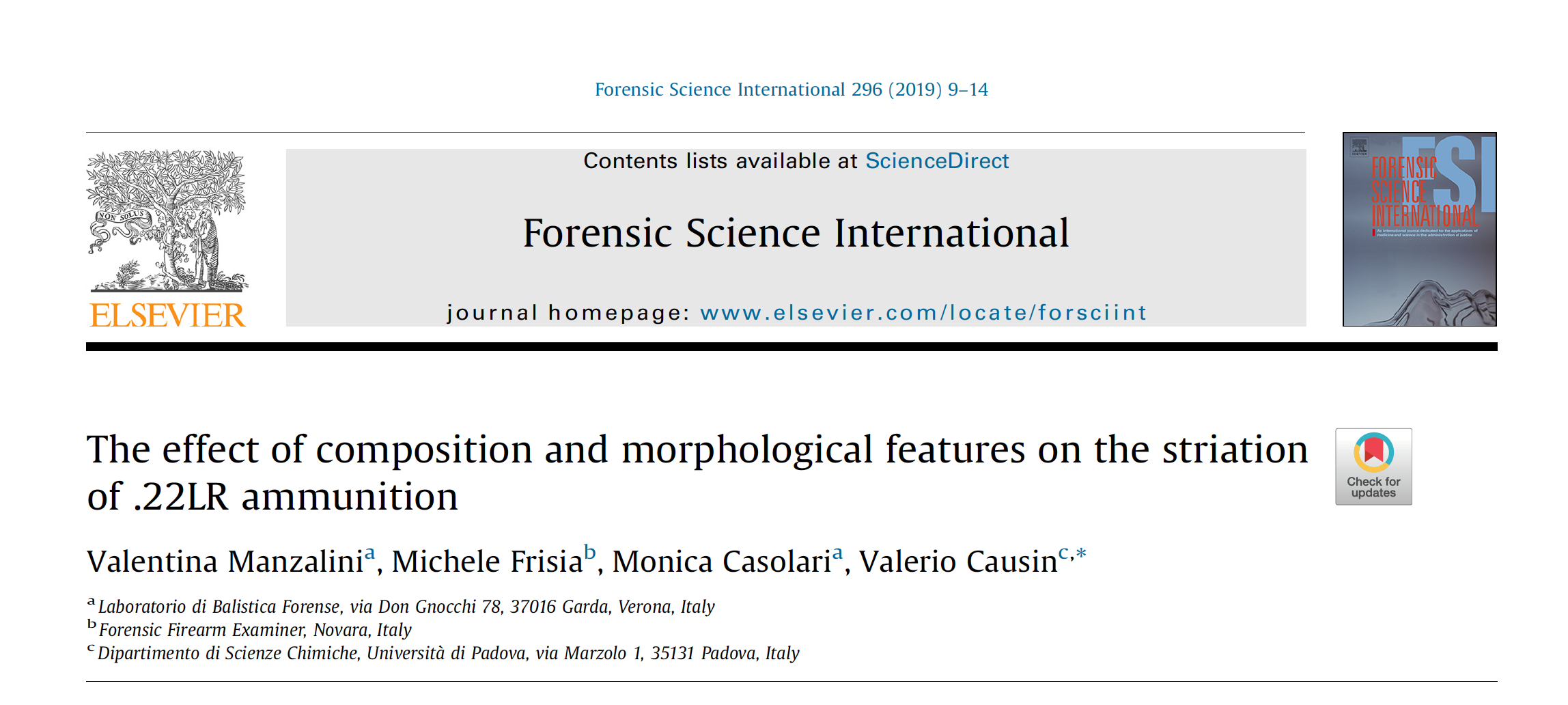 L'effetto della composizione chimica e della morfologia sull'improntamento delle munizioni calibro 22